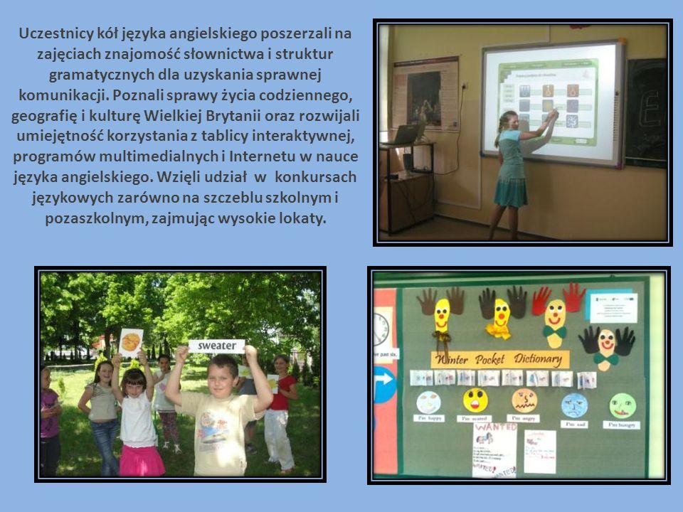 Uczestnicy kół języka angielskiego poszerzali na zajęciach znajomość słownictwa i struktur gramatycznych dla uzyskania sprawnej komunikacji.