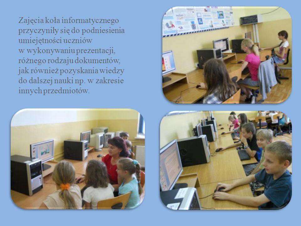 Zajęcia koła informatycznego przyczyniły się do podniesienia umiejętności uczniów