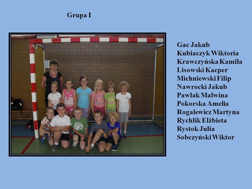 Grupa I Gac Jakub. Kubiaczyk Wiktoria. Krawczyńska Kamila. Lisowski Kacper. Michniewski Filip. Nawrocki Jakub.