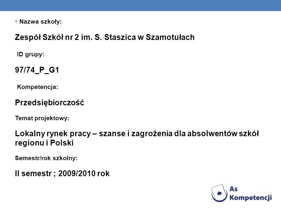 Zespół Szkół nr 2 im. S. Staszica w Szamotułach ID grupy: 97/74_P_G1