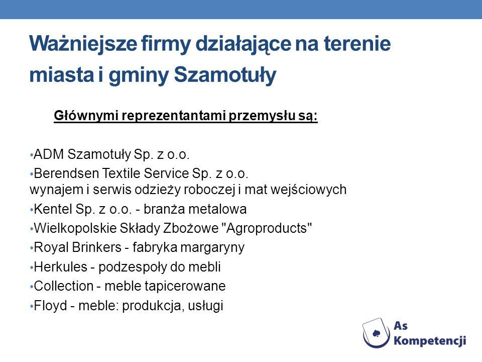 Ważniejsze firmy działające na terenie miasta i gminy Szamotuły