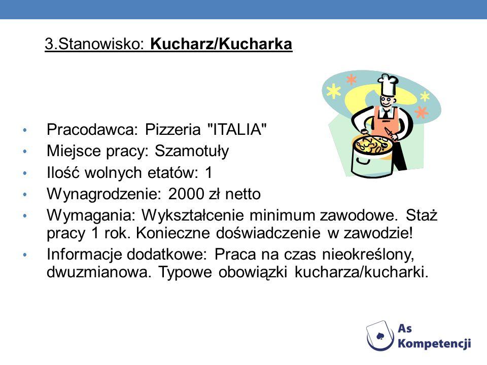 3.Stanowisko: Kucharz/Kucharka