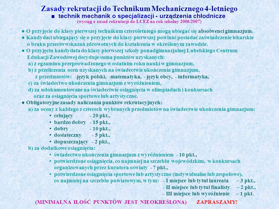 Zasady rekrutacji do Technikum Mechanicznego 4-letniego