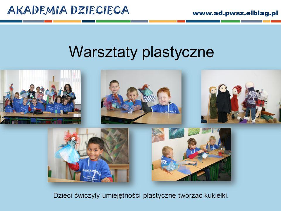 Dzieci ćwiczyły umiejętności plastyczne tworząc kukiełki.
