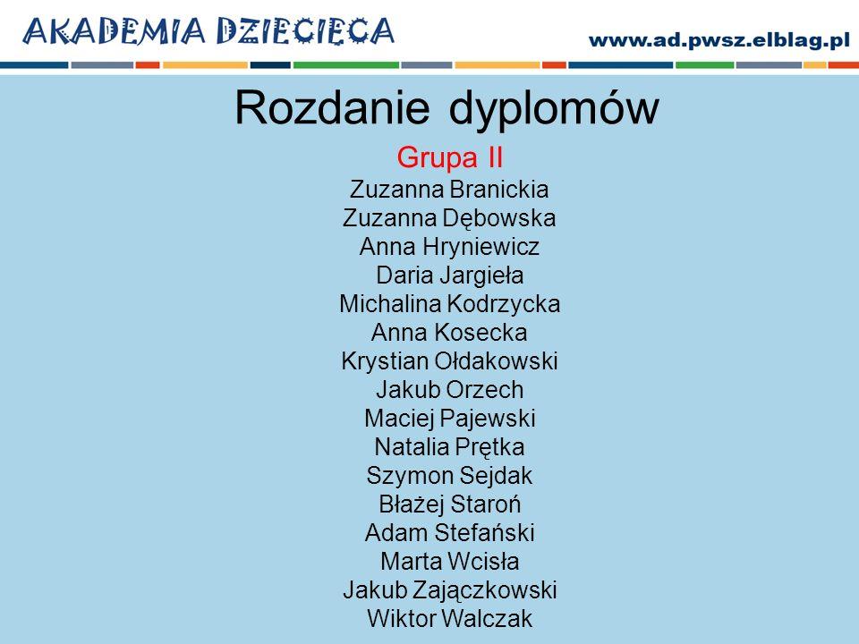 Rozdanie dyplomów Grupa II Zuzanna Branickia Zuzanna Dębowska