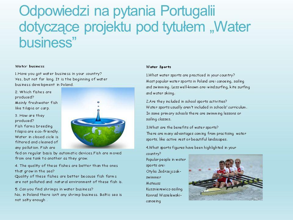 """Odpowiedzi na pytania Portugalii dotyczące projektu pod tytułem """"Water business"""