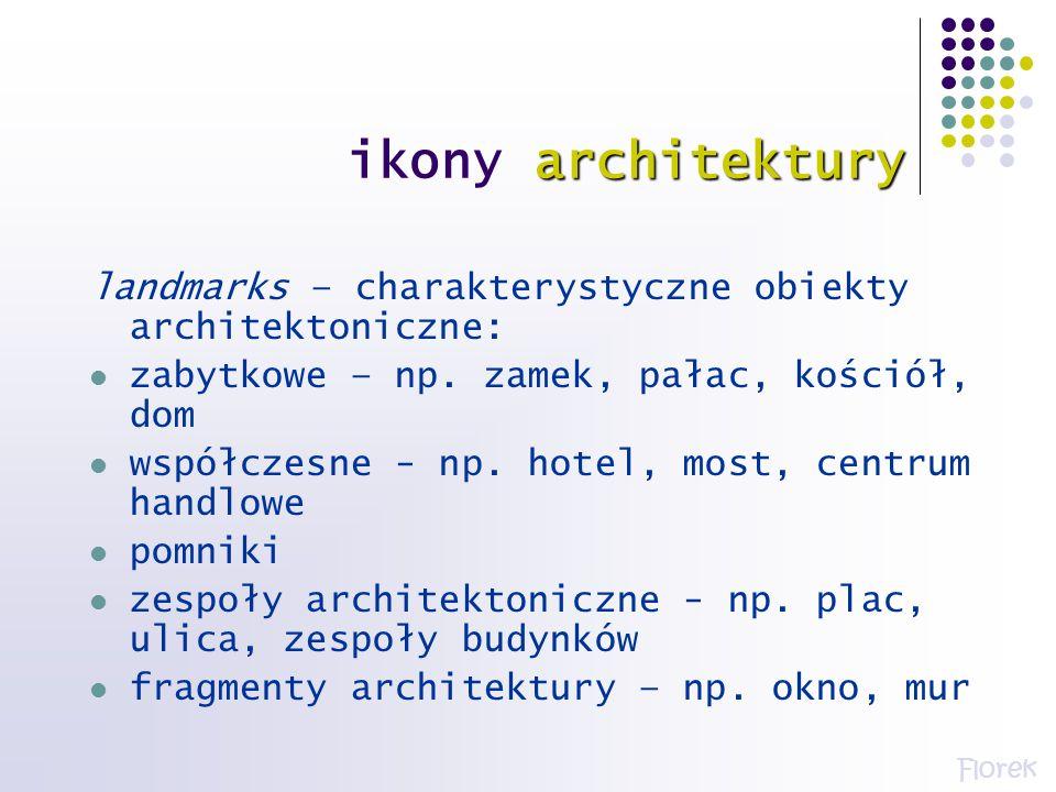ikony architektury landmarks – charakterystyczne obiekty architektoniczne: zabytkowe – np. zamek, pałac, kościół, dom.