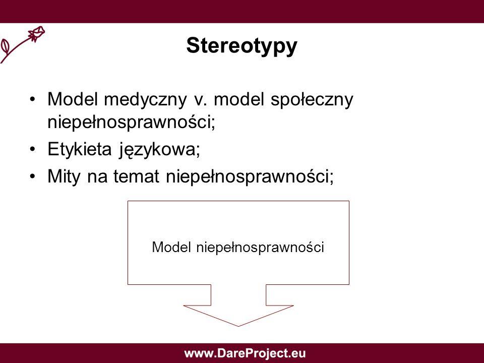 Stereotypy Model medyczny v. model społeczny niepełnosprawności;