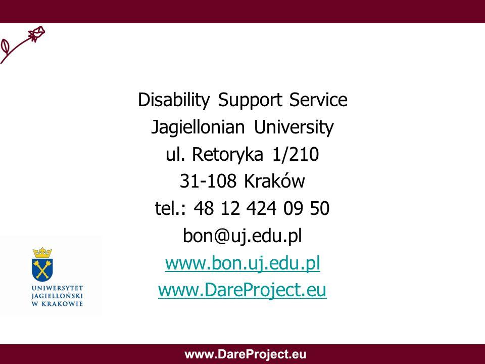 Disability Support Service Jagiellonian University ul. Retoryka 1/210