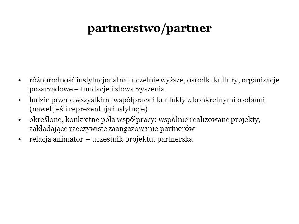 partnerstwo/partner różnorodność instytucjonalna: uczelnie wyższe, ośrodki kultury, organizacje pozarządowe – fundacje i stowarzyszenia.