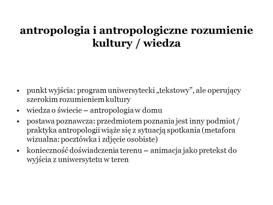 antropologia i antropologiczne rozumienie kultury / wiedza