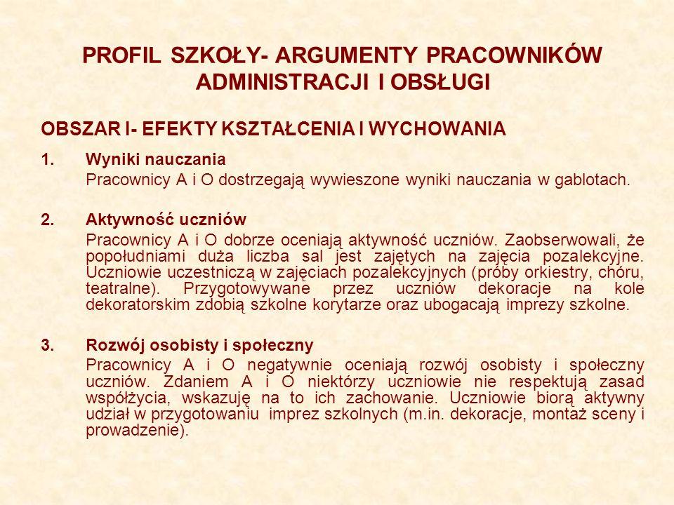 PROFIL SZKOŁY- ARGUMENTY PRACOWNIKÓW ADMINISTRACJI I OBSŁUGI