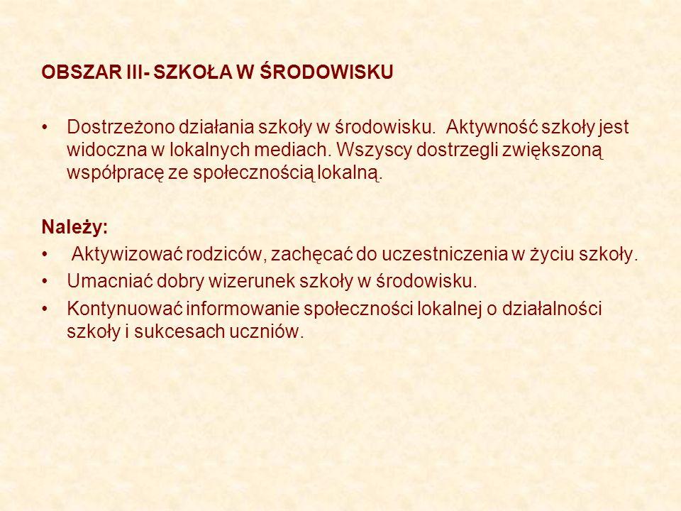 OBSZAR III- SZKOŁA W ŚRODOWISKU