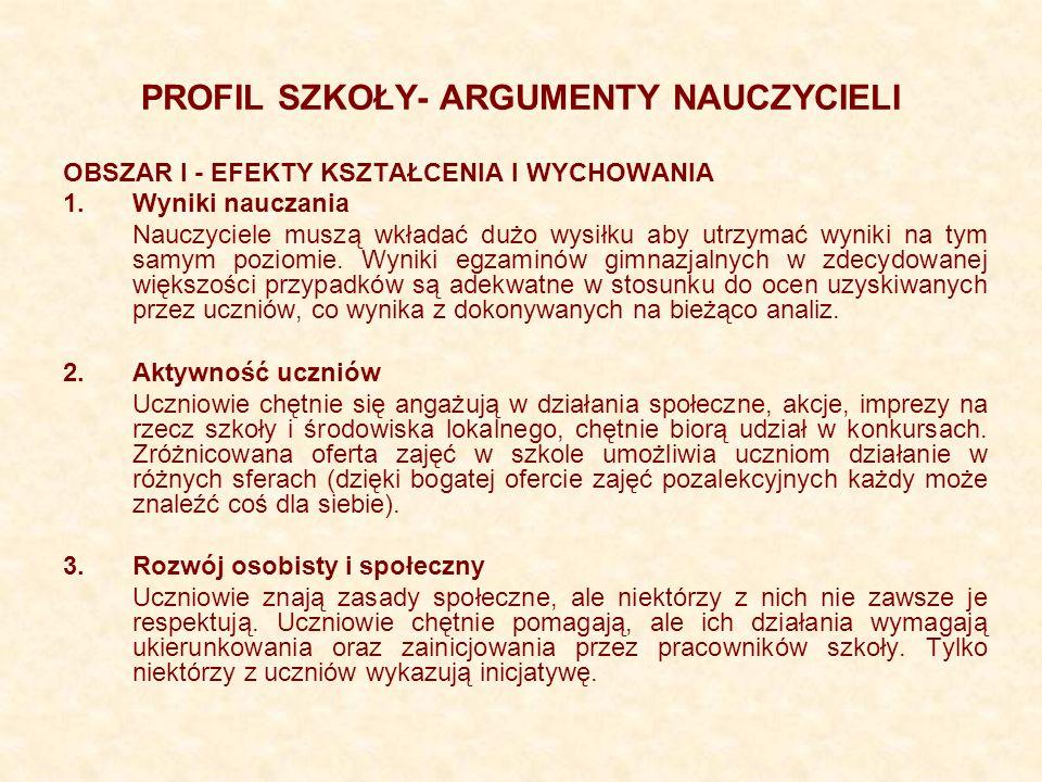 PROFIL SZKOŁY- ARGUMENTY NAUCZYCIELI