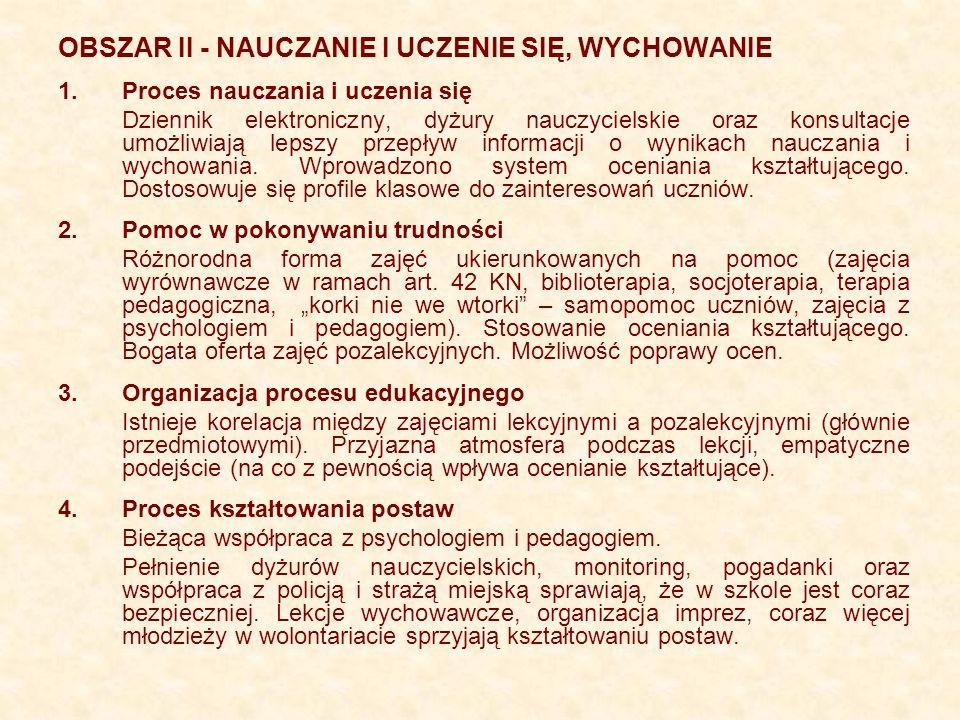 OBSZAR II - NAUCZANIE I UCZENIE SIĘ, WYCHOWANIE