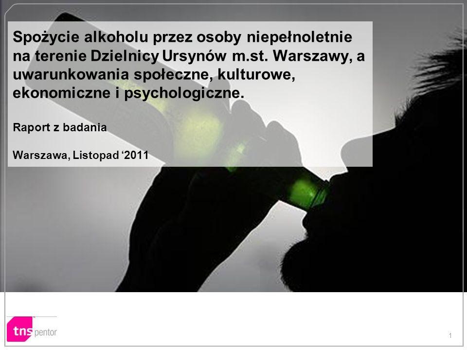 Spożycie alkoholu przez osoby niepełnoletnie na terenie Dzielnicy Ursynów m.st. Warszawy, a uwarunkowania społeczne, kulturowe, ekonomiczne i psychologiczne. Raport z badania Warszawa, Listopad '2011