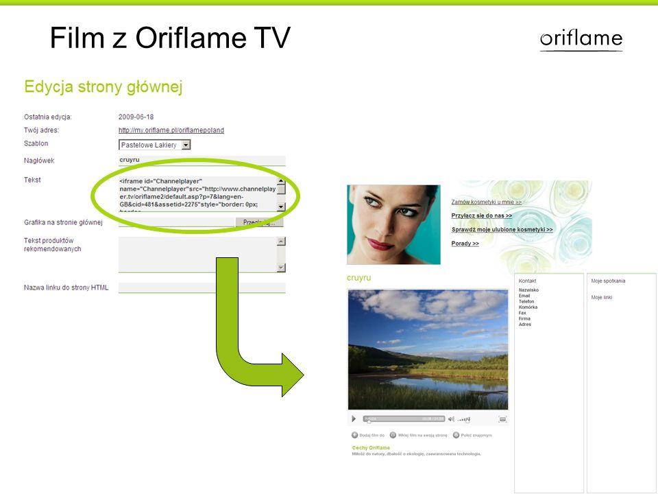 Film z Oriflame TV Uwaga. Nie każdy szablon strony pozwala na wklejenie filmu.