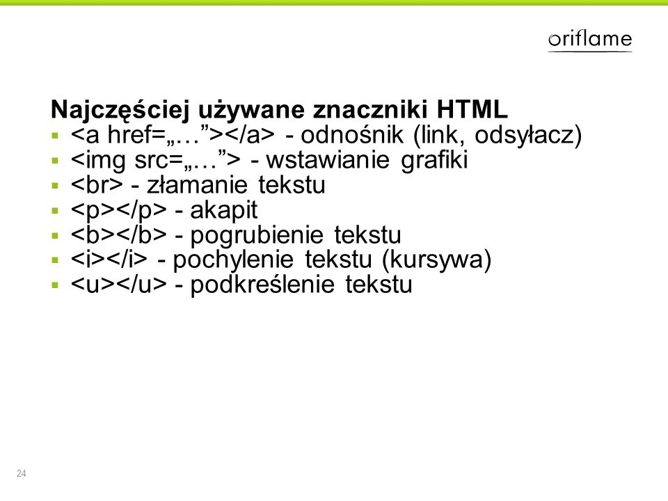 Najczęściej używane znaczniki HTML