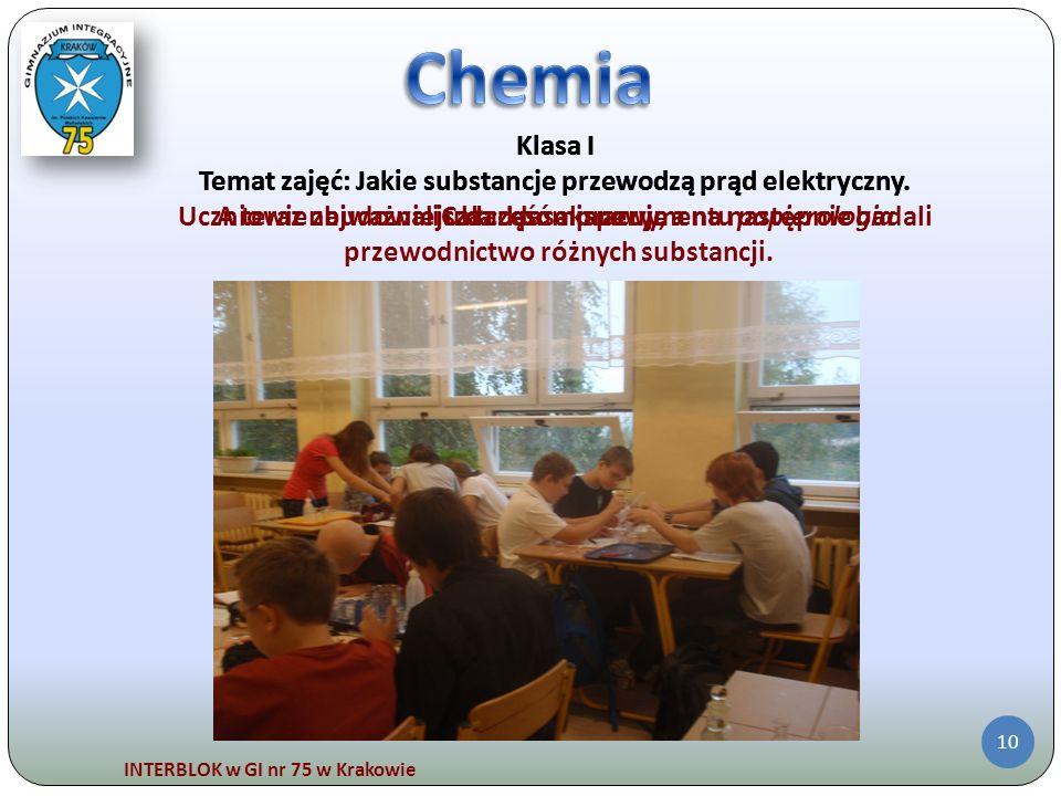 Chemia Klasa I. Temat zajęć: Jakie substancje przewodzą prąd elektryczny. Cała klasa pracuje. Klasa I.