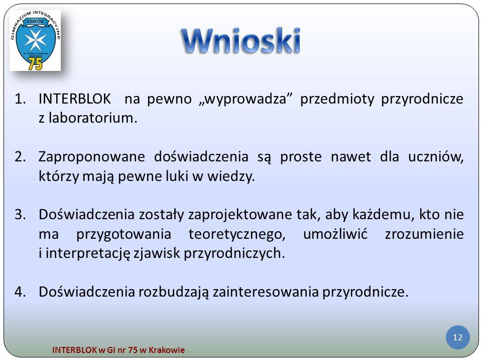 """Wnioski INTERBLOK na pewno """"wyprowadza przedmioty przyrodnicze z laboratorium."""