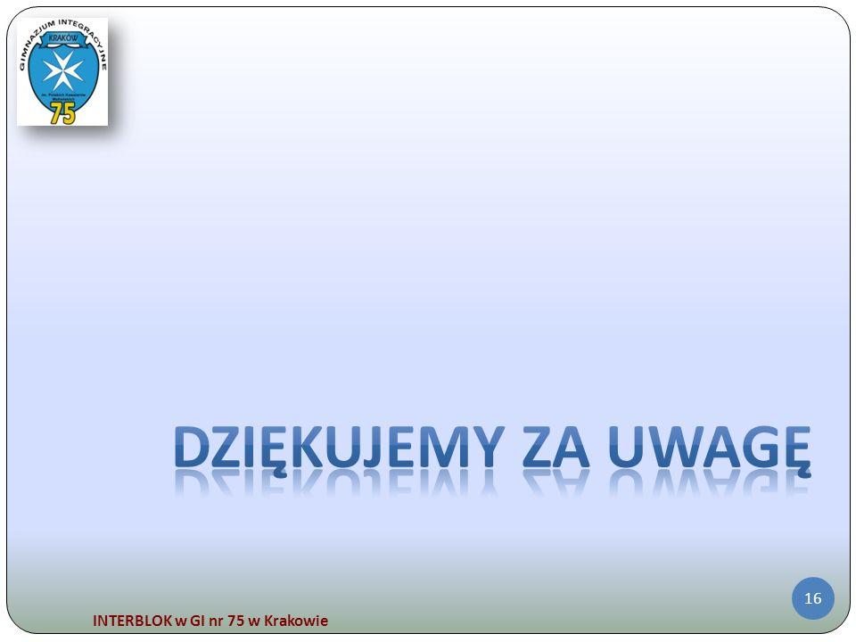 Dziękujemy za Uwagę INTERBLOK w GI nr 75 w Krakowie