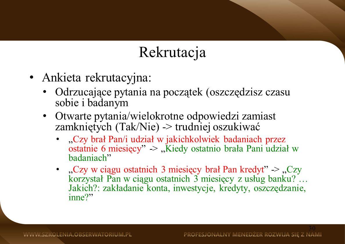 Rekrutacja Ankieta rekrutacyjna: