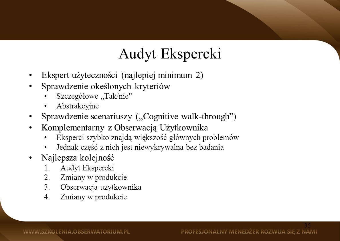 Audyt Ekspercki Ekspert użyteczności (najlepiej minimum 2)