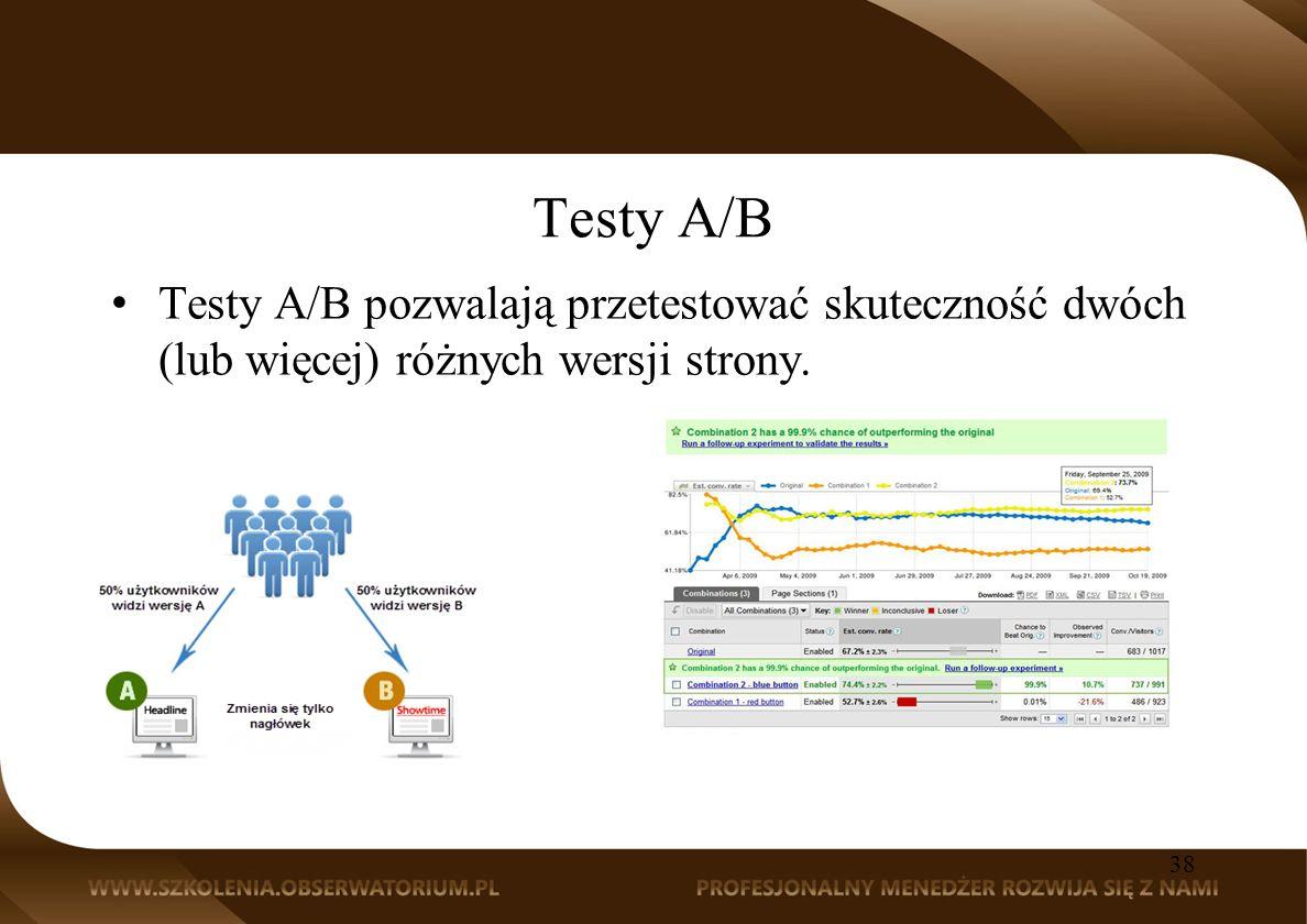 Testy A/B Testy A/B pozwalają przetestować skuteczność dwóch (lub więcej) różnych wersji strony.
