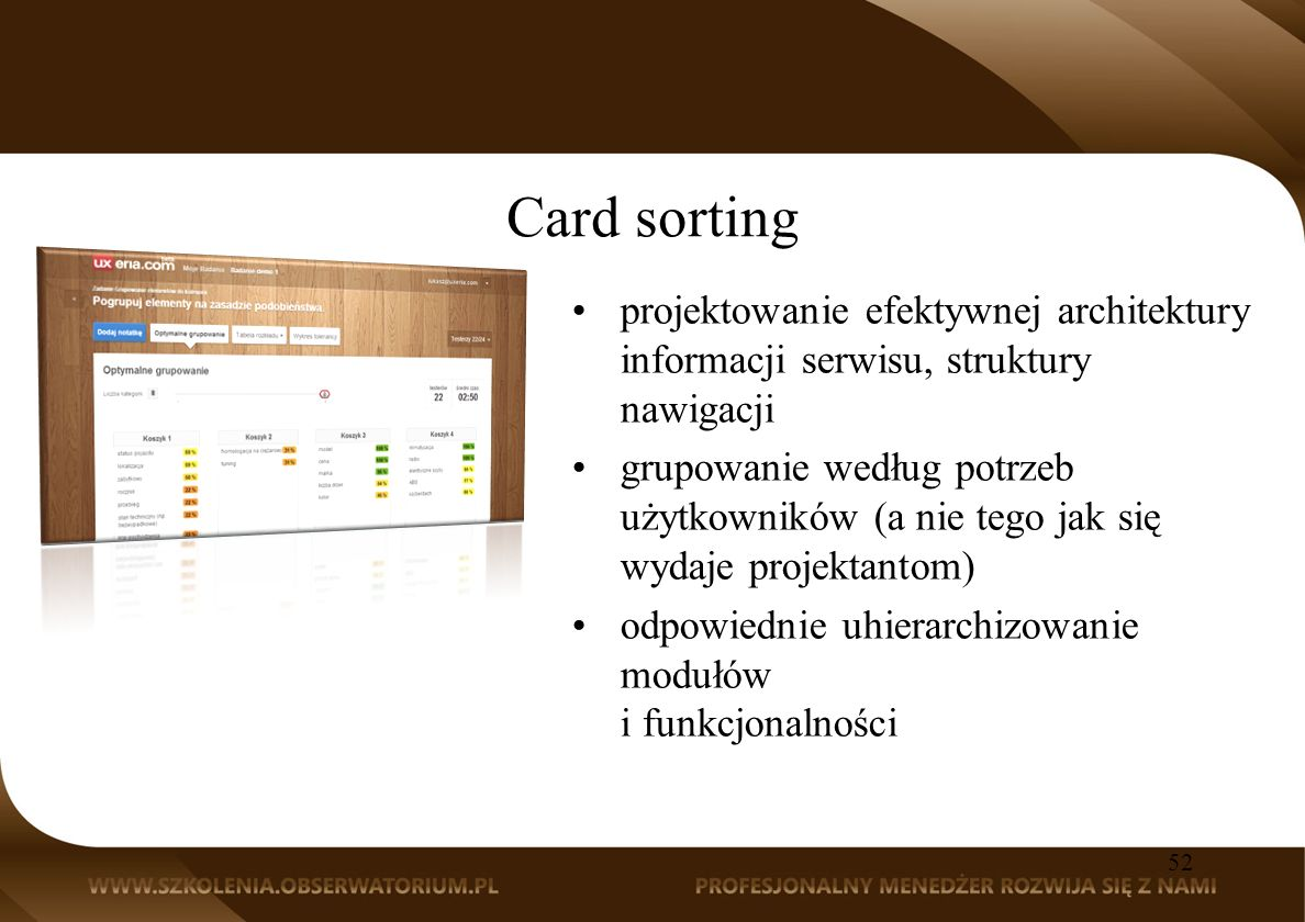 Card sorting projektowanie efektywnej architektury informacji serwisu, struktury nawigacji.