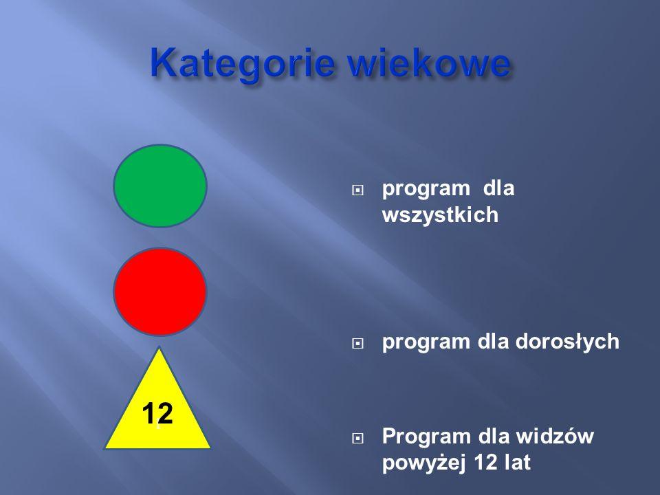 Kategorie wiekowe 12 program dla wszystkich program dla dorosłych