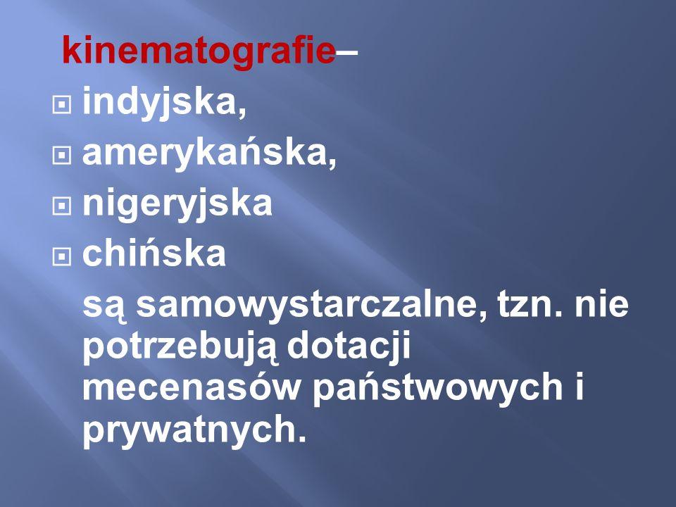 kinematografie–indyjska, amerykańska, nigeryjska.chińska.