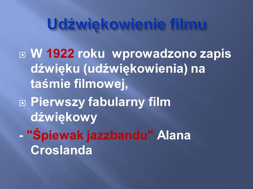 Udźwiękowienie filmu W 1922 roku wprowadzono zapis dźwięku (udźwiękowienia) na taśmie filmowej, Pierwszy fabularny film dźwiękowy.