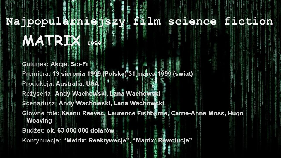 Najpopularniejszy film science fiction