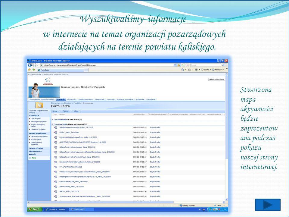 Wyszukiwaliśmy informacje w internecie na temat organizacji pozarządowych działających na terenie powiatu kaliskiego.