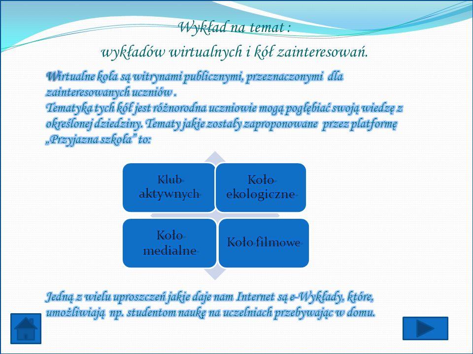 Wykład na temat : wykładów wirtualnych i kół zainteresowań.