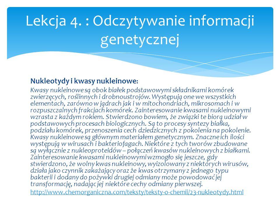 Lekcja 4. : Odczytywanie informacji genetycznej