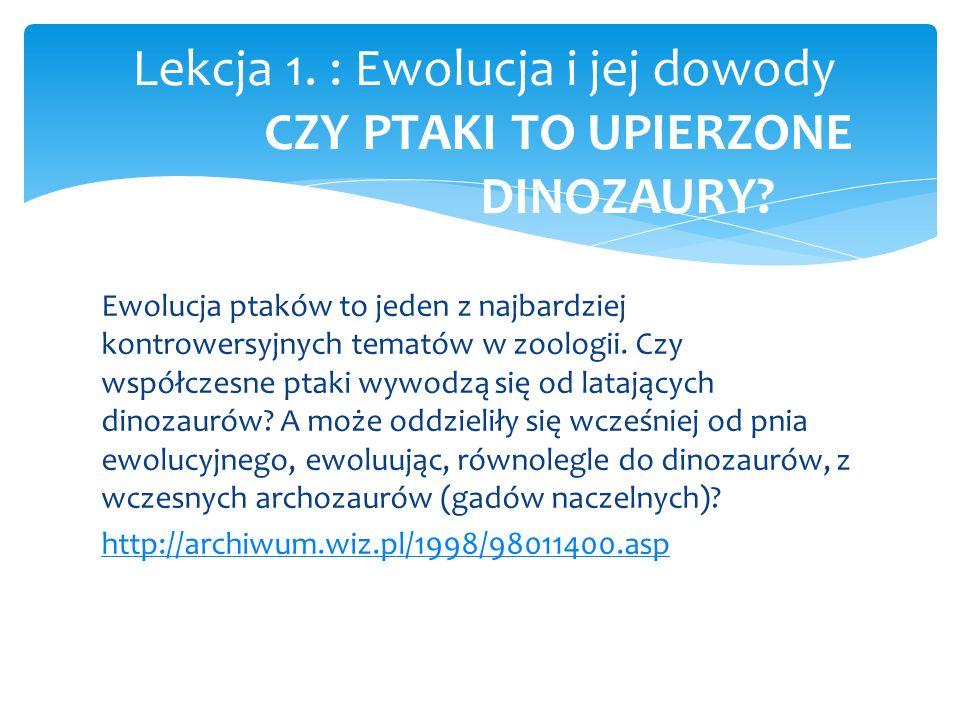 Lekcja 1. : Ewolucja i jej dowody CZY PTAKI TO UPIERZONE DINOZAURY