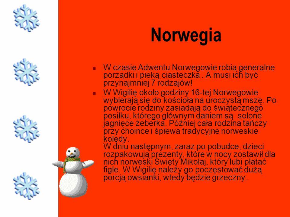 Norwegia W czasie Adwentu Norwegowie robią generalne porządki i pieką ciasteczka . A musi ich być przynajmniej 7 rodzajów!