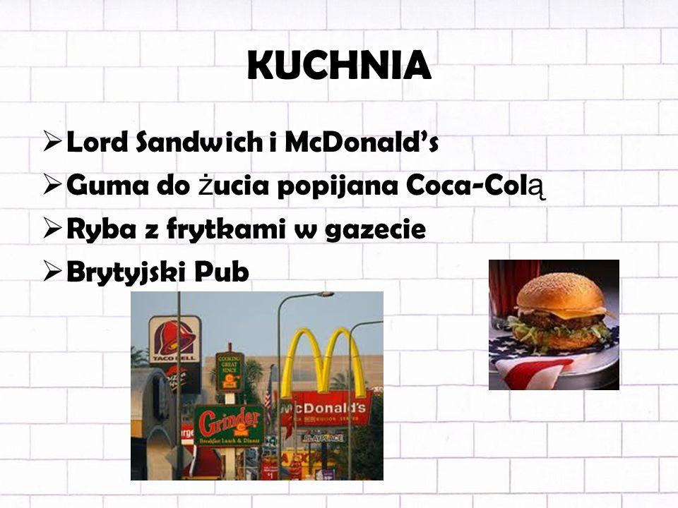 KUCHNIA Lord Sandwich i McDonald's Guma do żucia popijana Coca-Colą