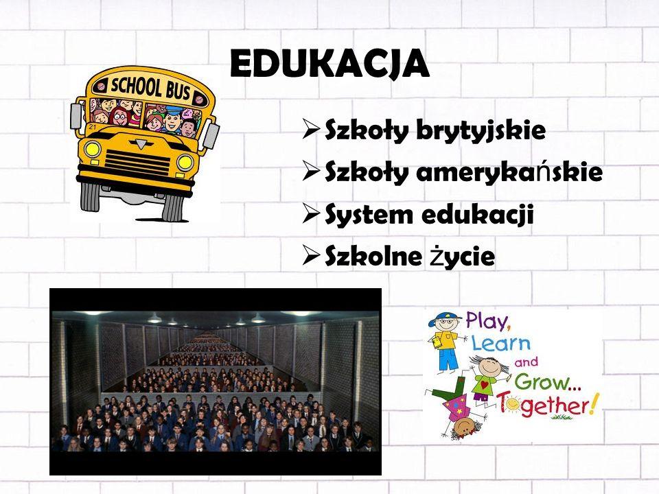 EDUKACJA Szkoły brytyjskie Szkoły amerykańskie System edukacji