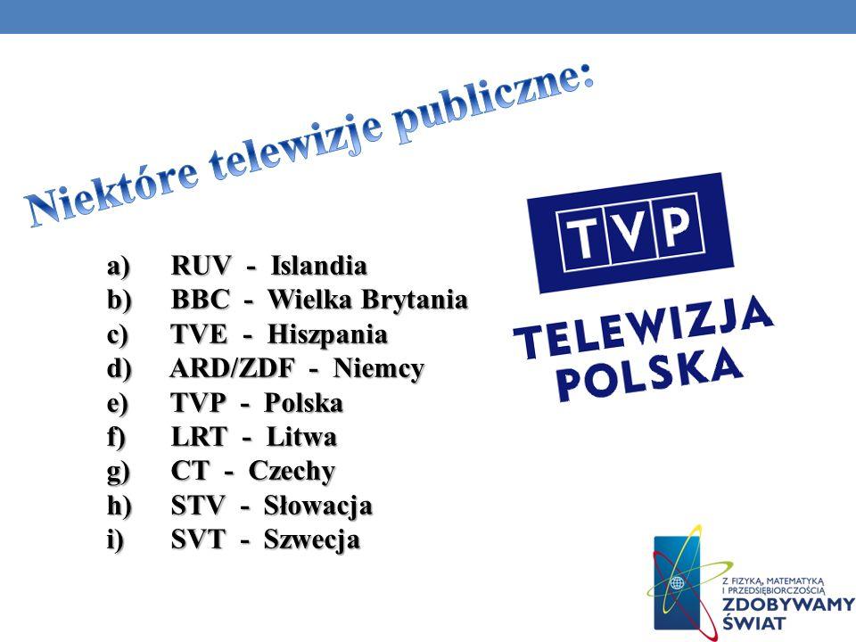 Niektóre telewizje publiczne: