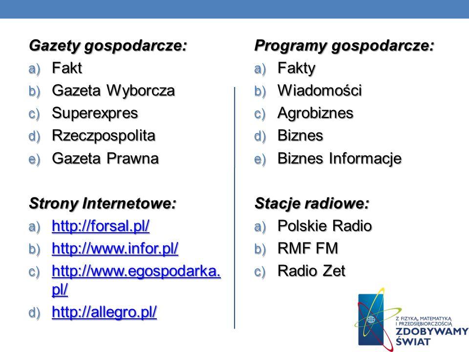 Gazety gospodarcze: Fakt. Gazeta Wyborcza. Superexpres. Rzeczpospolita. Gazeta Prawna. Strony Internetowe: