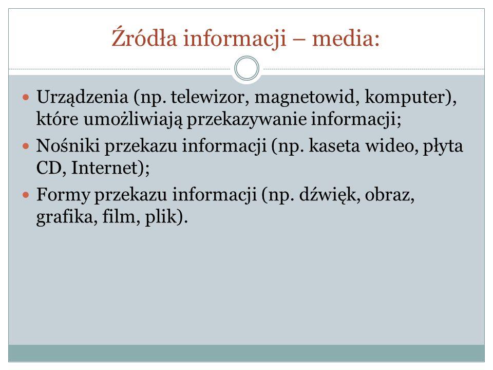 Źródła informacji – media: