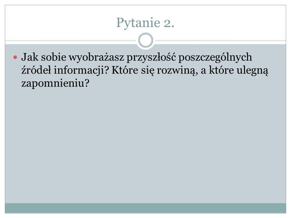 Pytanie 2. Jak sobie wyobrażasz przyszłość poszczególnych źródeł informacji.