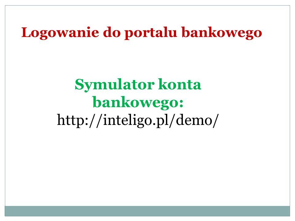 Logowanie do portalu bankowego Symulator konta bankowego: