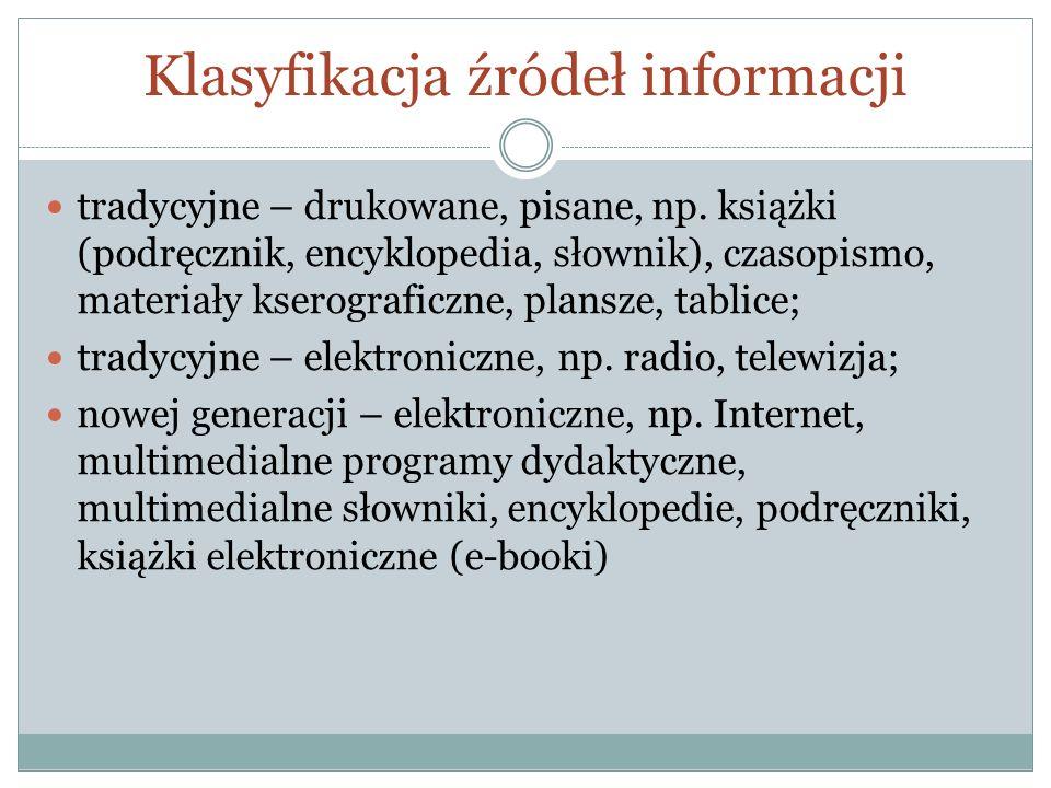 Klasyfikacja źródeł informacji