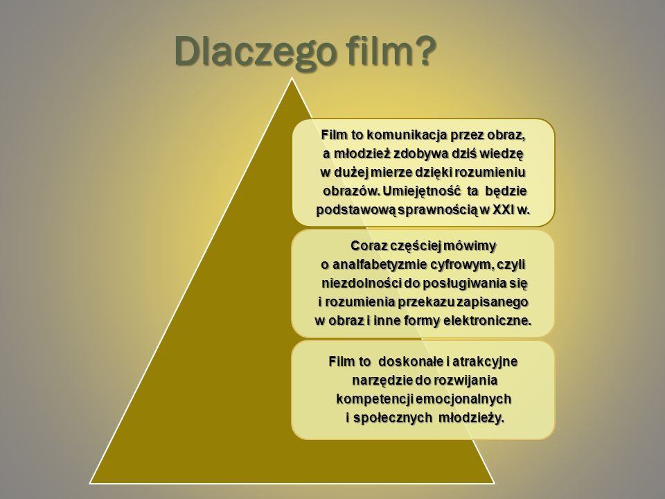 Dlaczego film Film to komunikacja przez obraz,
