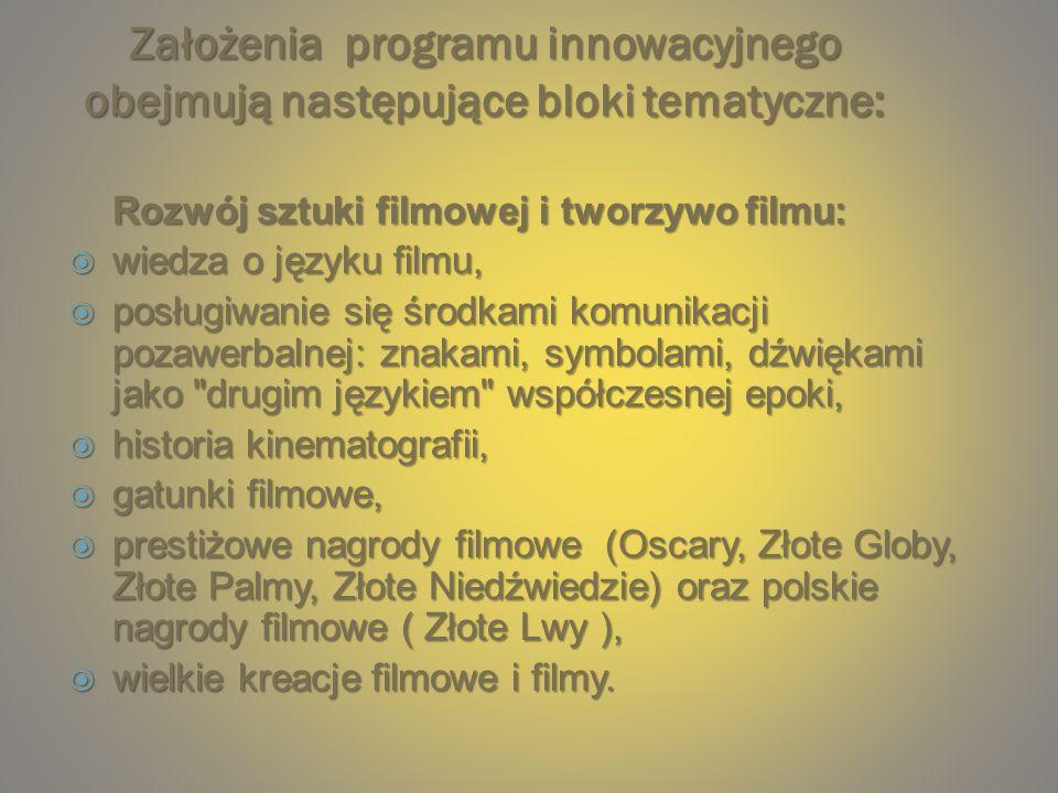 Założenia programu innowacyjnego obejmują następujące bloki tematyczne: