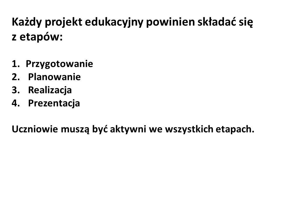 Każdy projekt edukacyjny powinien składać się z etapów: