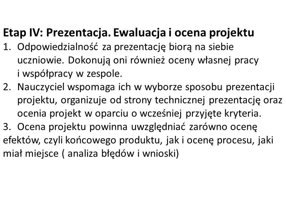 Etap IV: Prezentacja. Ewaluacja i ocena projektu